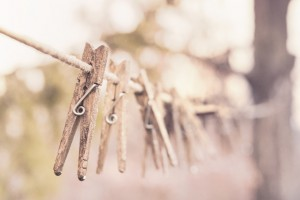 Clothes pins on a line