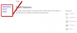 Salaries missing left sidebar
